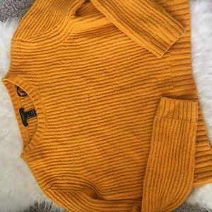 Forever 21 Womens Yellow Knitted Cropped Sweater